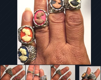 Vintage Sliver Cameo Rings 13x18 /Free Shipping
