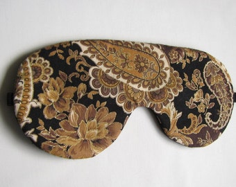 Adjustable Sleeping Mask, Brown Paisley Sleep Mask, Paisley Eye Mask, Sleeping Blindfold
