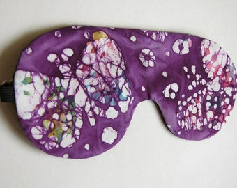 Purple sleep mask, Batik sleep mask, Adjustable Sleeping Eye Mask, Colorful Sleeping Mask
