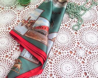 Vintage Italian Scarf - Italian Scarf - Souvenir Scarf - Venice Souvenir Scarf - Vintage Head Scarf - Italian Head Scarf - Kitsch Red Green