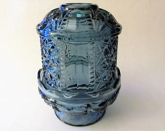 Blue fairy light candle holder L. E. Smith glass Co.