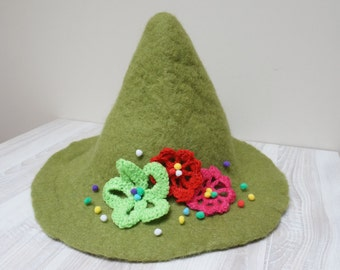 Snufkin hat green felted with felt wool crochet flowers feather rose brooch sauna cap tribal Valentine Christmas carnival festival troll mu
