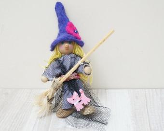 Good luck kitchen witch Halloween doll handmade hanging ornament felt flower hat home decor art figurine hand sculptured small primitive