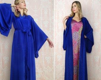 "Custom ""Noguchi"" kimono robe in faux silk and matching satin cami slip. Long bohemian kimono robe Long silk kimono with pockets Gift for her"