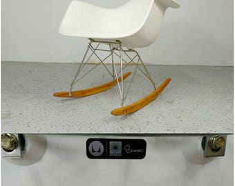 mid century modern white authentic Herman Miller Charles Eames Vitra plastic arm rocking chair