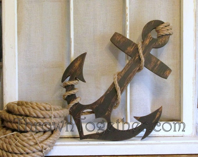 "Anchor with Heart and Rope, Nautical Wood Wall Decor, Handmade 20"" Wood Anchor, Rustic Wedding Prop, Gallery Wall, Distressed Wall Art"