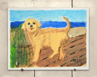 """Yellow Dog Original Art 11.5x9"""" One of a Kind 100% of the profits go directly to artists with disabilities Item 71 Mike H."""