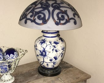 LAYAWAY for Cee Cee DerLa Blue and White Lamp, Hand Painted Glass Lamp Shade, Chinese Porcelain Lamp