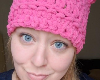 Pink Pussy Hat Project Crochet Pink Kitty Cat Hat Chunky Cat Beanie