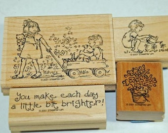 Retired Stampin Up Rubber Stamp Set Friendships Grow 2001