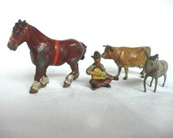 Lead farm animals - Britain lead farm animals - cast lead animals - vintage toy farm animals and figurine - Made in England farm animals