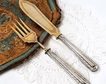 Antique Silver 800 Serving Set, Fork and Knife serving Set ,French Silver 800 Art Deco Serving Utensil,Wedding Cutlery Silver Set
