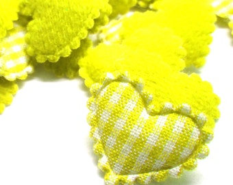 "100pcs x 3/4"" Yellow Gingham Cotton Heart Padded/Appliques"