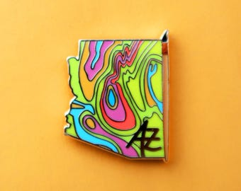 Arizona Pin.Arizona Art.Enamel Pin.Southwest Art.Desert Art.Colorful Desert.Artist Pin.Rainbow Pin.Watercolor Pin.Paintbrush Pin.Cactus Pin