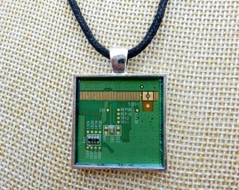 Circuit board pendant, upcycled computer jewellery, computer geek jewelry, IT nerd gift, computer chip, geeky gift, recycled jewelry, eco