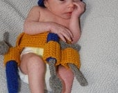 Newborn Crocheted Hardhat and Tool belt (with tools)