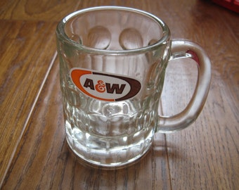 Vintage A & W Root Beer Heavy Glass Mug With Logo