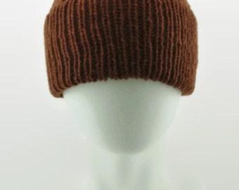 Mans double cuffed wool beanie