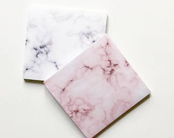 Marble Post-It Notes Set--Marble Set: Pink & Gray | Sticky Notes - Marble - Pink Marble - Desk Accessories- Gold-Christmas gift