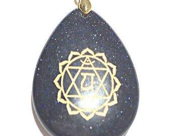 Blue Sand Heart Chakra Necklace