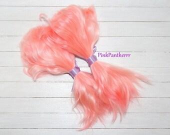 Angora Mohair locks ~ 6inch Pink Grapefruit 10 grams ~ doll hair reroot bjd doll wig