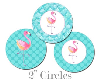 Digital Printable Two Inch Circles with Flamingo Seaside Ocean Nautical Coastal Cupcake Toppers Gift Tags CCTB019