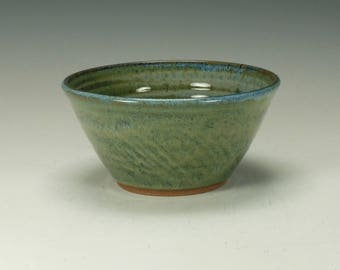 Stoneware pottery bowl.  Blue/Green.  Ready to ship.