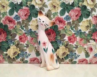Vintage Kitsch China Kitty Cat Pink Flowers