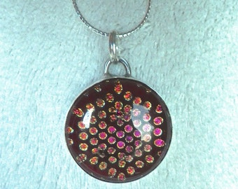 Red and Pink Dichroic Glass Sterling Silver Pendant