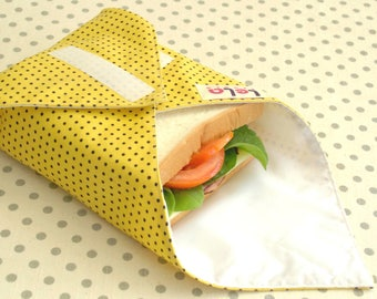 Sandwich Wrap, Reusable Fabric Lunch Wrap, Eco friendly Food Wrap, Cotton Sandwich Wrap,Reusable Lunch Place mat, Yellow Black Polka Dot