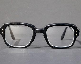 Rare Black US Military Eyeglasses Square Rectangle Keyhole Thick Frame RX Prescription Eyewear Sunglasses Women Birth Control Glasses