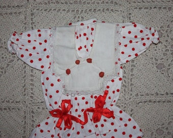 Red and White Polka Dot Dress for Bisque Dolls