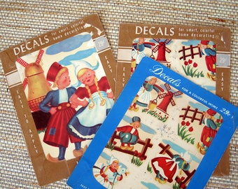 Meyercord Decals with Little Dutch Children Design, 3 packages