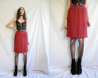 80's punk/rocker red and black check high waisted straight skirt