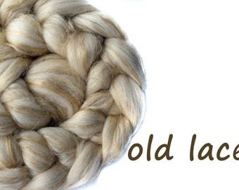 Blended roving - Flax - Merino - Tussah silk - Undyed fibre  - 100g - 3.5oz - OLD LACE