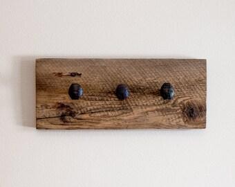 "Rustic hardware coat rack, wall hanger with 3 railroad spike hooks, 18"" x 8"" barnwood wall hooks"