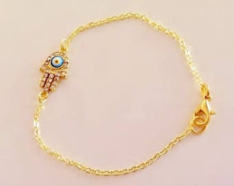 Evil Eye Gold Plated Hamsa Hand Bracelet, Baby Girl Toddler Child Gold Rhinestone  Chamsa, Hamsa Charm, Fatma's Hand, Gold Plated Anklet