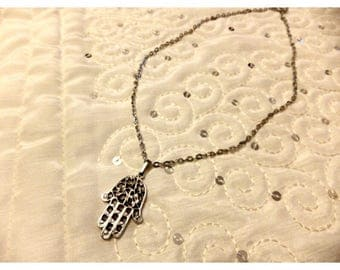 Tiny Hamsa Hand Necklace, Small Antique Silver Necklace, Boho jewelry, Long Necklace, Protection pendant, Sacred symbol, Gift for Her, Sale
