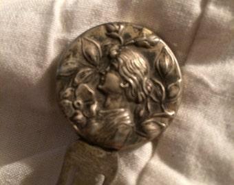 Art nouveau lady face sterling book mark