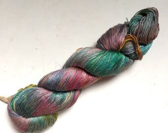 50% Off Mulberry Silk Lace Yarn Short Skein 94g 752 Yards Himalayan Muted Rainbow