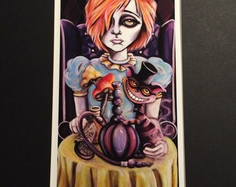 Big eyes Alice in Wonderland with Cheshire cat matted Print, Lowbrow, big Eyes Art by Lizzy Falcon