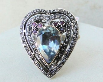 Victorian Diamond Blue Topaz & Ruby Gold Silver Ring India