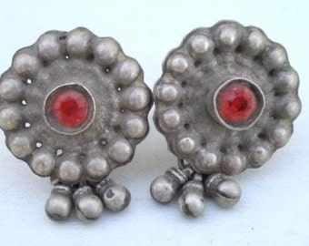 Ancient Bellydance Tribal Old Silver Earring Earplug India