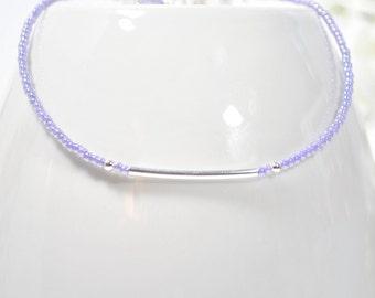 Bar Ankle Bracelet Lavender Anklet Purple Silver Anklet Layered Handmade Layerig Anklet