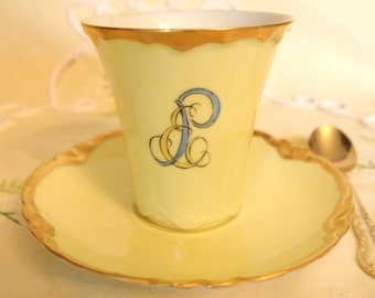 Antique  Limoges Chocolate Cup | Art Nouveau  Haviland Limoges Chocolate Tea Cup and Saucer Set | Hand Painted Yellow with Gold Monogrammed