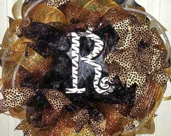 Monogram Wreath, Animal print letter wreath, leopard monogram door hanger,  Mesh Monogram wreath