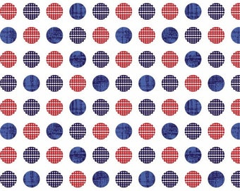 Quilts of Valor Fabric/Red, White, Navy Blue/Polka Dots/Quilting Material, Quilt, Craft/Cotton Yardage/Fat Quarter, Half, By The Yard,