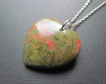 Unakite Necklace - Heart Pendant - Gemstone Heart - Unakite Pendant - Gemstone Jewelry