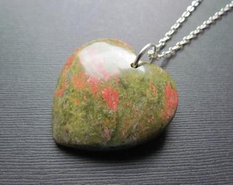 Unakite Necklace - Heart Pendant - Gemstone Heart - Unakite Pendant - Gemstone Jewelry