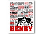 Wrestling Typography Canvas or Art Print, Boys Room Art, Choose Any Colors, Personalized Gift for High School or College Wrestler